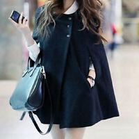 Women Winter Cape Coat Batwing Cloak Solid Poncho Jacket Outerwear Windbreaker