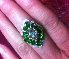Chrome Diopside(Russian)/Prasiolite Ring-4.66Ctw-Sz 7 , 10kt YG