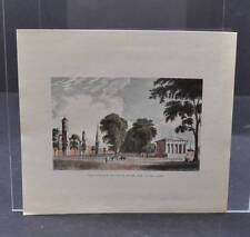 Vintage Colored Etching Print Of Yale College And State House New Haven Conn