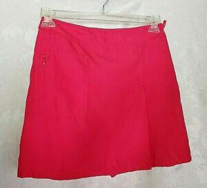 Izod Golf Skort Sz 6 Pink X-Tra Dry Side Zip 1 Pocket Polyester Front Slit