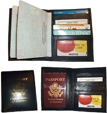 Lot of 3 New USA Leather passport case, Navy wallet credit ATM card case ID BNWT