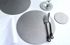 Set 6 ARTISAN SILVER Bonded Leather ROUND PLACEMATS & 6 COASTERS 12-Pcs UK MADE