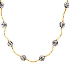 18K Gold Plated Necklace Shamballa Stone Flexible Women's Lobster Clasp L109
