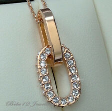 Simulated Diamond/Oval Rings Pendant with Crystal Necklace//Rose gold/RGN534