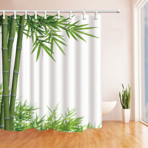 Nature Bamboo Green Leaves Waterproof Fabric Shower Curtain & 12 Hooks 71*71inch