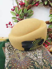 bf19f47b8b7 Vintage Style 1940 s Forties Pale Gold 100% Wool Felt Hat