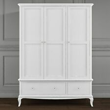 Florentine Triple White Wardrobe with Drawers - French Style FLR006