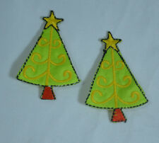 2 X CHRISTMAS XMAS TREE 6cm Embroidered Iron Sew On Cloth Patch Badge  APPLIQUE