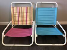 2 Beach Sand Chairs Pool Portable Folding Low Rider Profile Aqua/Pink 200lb cap.
