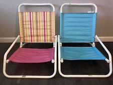 2 Beach Sand Chairs Pool Portable Folding Low Rider Profile Aqua/Pink 200lb cap.
