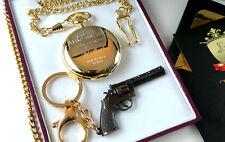 CLINT EASTWOOD Signed 24kt GOLD Clad POCKET WATCH & Revolver Gun Keyring in Case