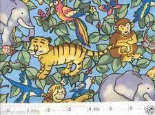 Jungle Safari World Animals Blue Quilt Fabric - Free Shipping - 1 Yard