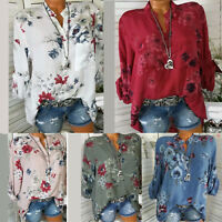 Womens Ladies Floral V-Neck Blouse Tops Casual Long Sleeve Loose Shirts Tops