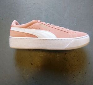 Puma Vikky Coral Pink Cloud Gold Suede Women's Trainers Sneaker Shoes