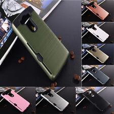 Rubber Shockproof Hybrid Card Wallet Hard Case + Tempered Glass Film For LG