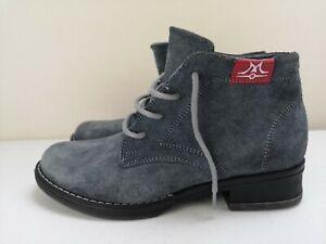 TEHNOMAT Blue Grey Leather Ladies Women Ankle High Heel Shoe Boot Size 3 36