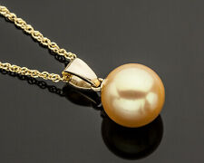 Golden South Seas Pearl Pendant Necklace 14K Yellow Gold 18 Inch Length Chain