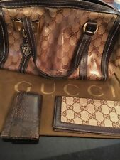 GUCCI BOSTON MINI JOY CRYSTAL SATCHEL BAG BROWN LEATHER COATED CANVAS(181487)