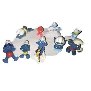 Vintage Lot Of 9 Smurf Figures 1980-2000s
