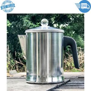 9 Cups Aluminum Stove Top Percolator Yosemite Coffee Pot Maker Heavy Duty Silver