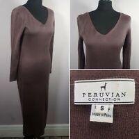 PERUVIAN CONNECTION Jumper Dress Sz S 8/10 Midi Knit Purple/Brown Casual