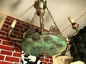 RARE Antique Napoleon Empire Chandelier Bronze French Brass Hanging Chain Lamp