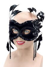 # Veneciano Terciopelo Negro & Plumas Antifaz Baile De Máscaras Disfraz carnaval