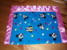 Baby bedding Handmade Blue Mickey/Minnie Mouse fleece with Cerise Satin Binding
