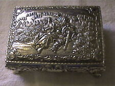 OLD SILVER PLATED OR SILVER,DOSNT SAY,JEWELRY ORIENTAL,VTG.JAPAN BOX,4 LEGS