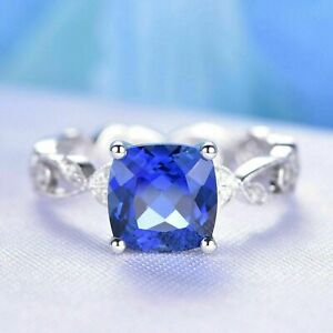 4.20Ct Cushion Cut Blue Sapphire Solitaire Engagement Ring 14K White Gold Finish
