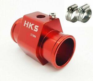 34MM RED Car Water TemperatureTemP Sensor Gauge Radiator Hose Joint Pipe Adapter