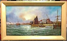 19th Century Antique European Oil Painting Port City Sailing Boats
