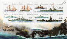Navy Warships/Ships Stamp Sheet 1999 Angola: Bismarck/USS Cleveland & Long Beach