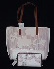 Fossil Madison Tote and Tessa Zip Clutch Perforated leather Matching Set NWT