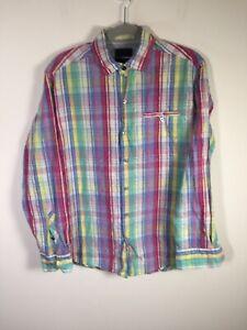 Tommy Bahama mens cotton silk multicolour plaid button up shirt size S long slv