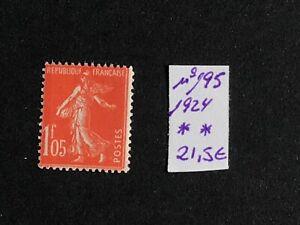 Francia 1924 sello Semeuse nº195 valor cat. Yvert 21 €uros MNH