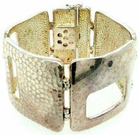 Sterling 925 Heavy Vintage Modernist Small Wrist Hammere Panel Link Bracelet 169
