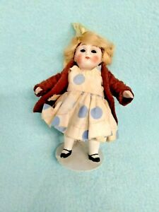 💙 Sweet Antique All Bisque Mignonette Dollhouse Doll 4.5 inch~lil tlc