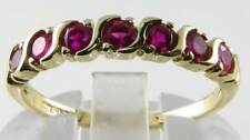 QUALITY 9K 9CT GOLD INDIAN RUBY 7 STONE  WAVE ETERNITY RING FREE SIZE