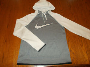 NIKE THERMA-FIT GRAY & WHITE HOODED SWEATSHIRT WOMENS SMALL EXCELLENT CONDITION