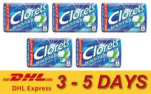 5 x Clorets MINT TAB Sugar Free GREEN CLEAR MINT Flavor Tablets 18g