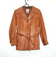 Vintage 70s PEGE SWEDEN Brown Camel Safari Jacket Coat Belted womens Size 40 M