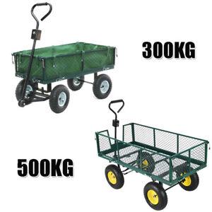 Heavy Duty Garden Trolley Cart 4 Wheel barrow Quad Trailer Large 300kg/500kg