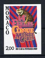 """MONACO YVERT TELLIER 1659 """" CIRCUS FESTIVAL TIGER 1989 IMPERF """" MNH VVF T279"""