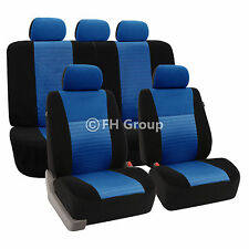 3D Airmesh Design Blue Black 2Row Auto Car Seat Covers  Air Bag Safe Split Bench