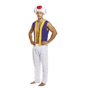 Adult Toad Mushroom Man Super Video Game Aladdin Costume Fancy Dres Party Outfit