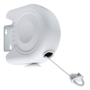 JVL Outdoor Retractable Reel Washing Clothes Line, Plastic, White, 12 Metres