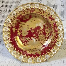 "Gold Aves, Red C1955 Hand Decorated By Royal Crown Derby 6.25"" (16cm) Plate Vgc"