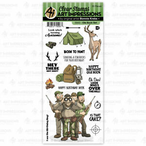 Men Old Buck Birthday Clear Unmounted Rubber Stamp Set ART IMPRESSIONS 5043 New