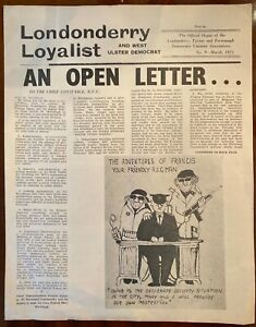Londonderry Loyalist Newspaper Ulster Protestant UDA UVF IRA UFF Derry 1972